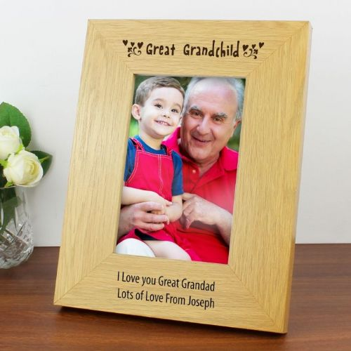 Personalised Great Grandchild Wooden Photo Frame